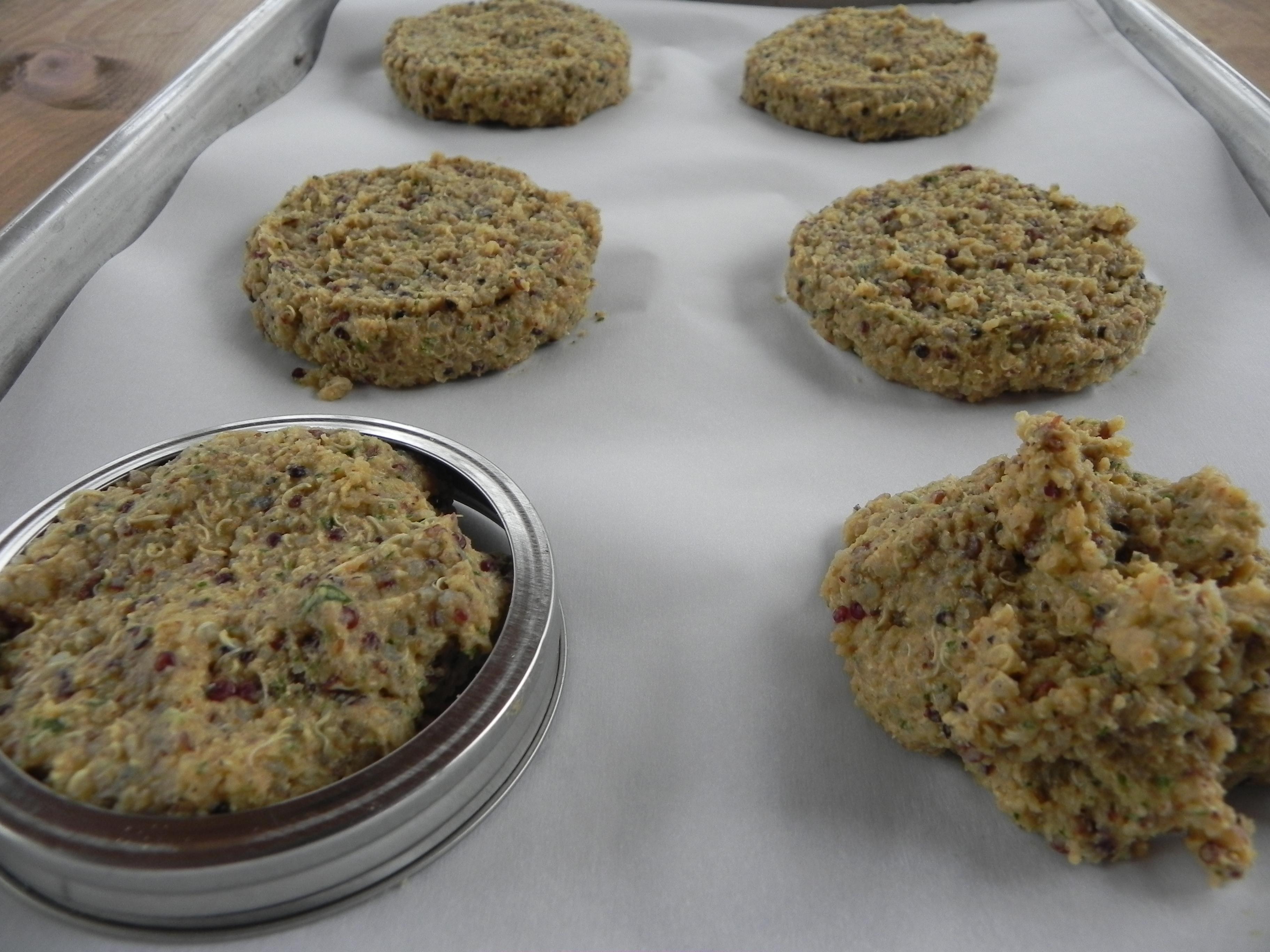 Using A Food Processor,bine The Garbanzo Beans, 2 Cups Quinoa, Egg,  Flour, Cilantro, Tahini, Soy Sauce, Thyme, Cumin, Paprika, Garlic Powder,  Coriander,